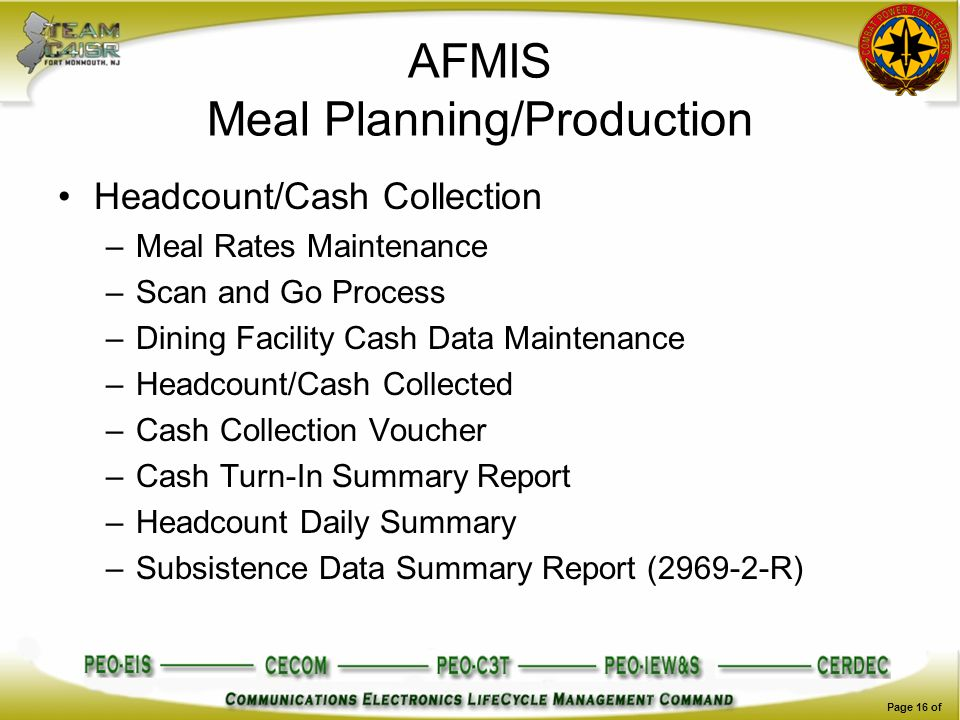 AFMIS Meal Planning/Production Headcount/Cash Collection –Meal Rates Maintenance –Scan and Go Process –Dining Facility Cash Data Maintenance –Headcoun