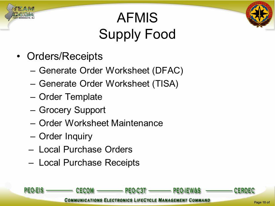 AFMIS Supply Food Orders/Receipts –Generate Order Worksheet (DFAC) –Generate Order Worksheet (TISA) –Order Template –Grocery Support –Order Worksheet
