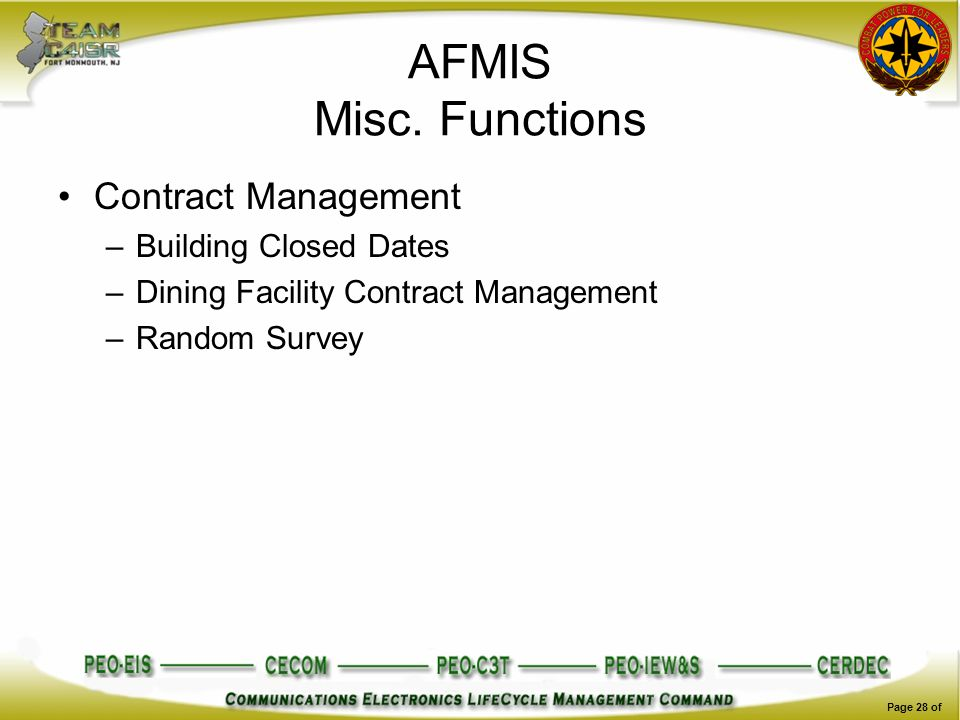 AFMIS Misc. Functions Contract Management –Building Closed Dates –Dining Facility Contract Management –Random Survey Page 28 of