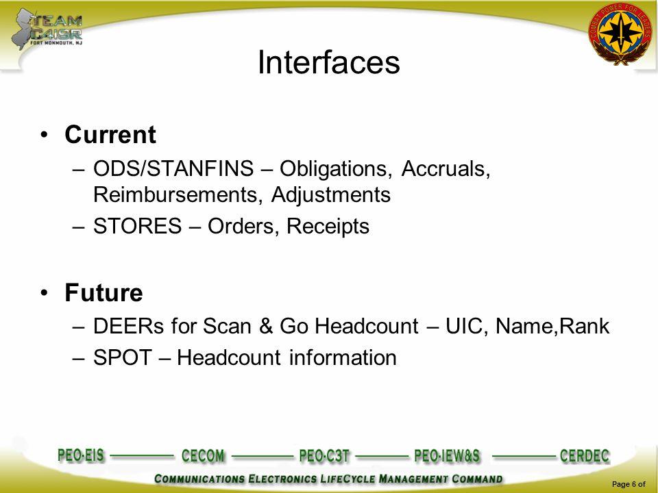 Interfaces Current –ODS/STANFINS – Obligations, Accruals, Reimbursements, Adjustments –STORES – Orders, Receipts Future –DEERs for Scan & Go Headcount