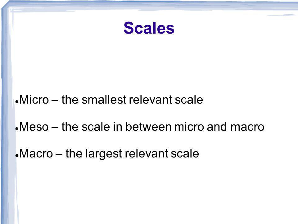 Scales Micro – the smallest relevant scale Meso – the scale in between micro and macro Macro – the largest relevant scale