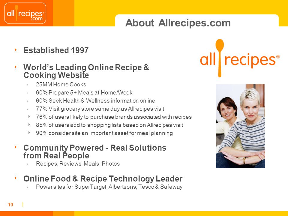 | 10 About Allrecipes.com Established 1997 Worlds Leading Online Recipe & Cooking Website 25MM Home Cooks 60% Prepare 5+ Meals at Home/Week 60% Seek H