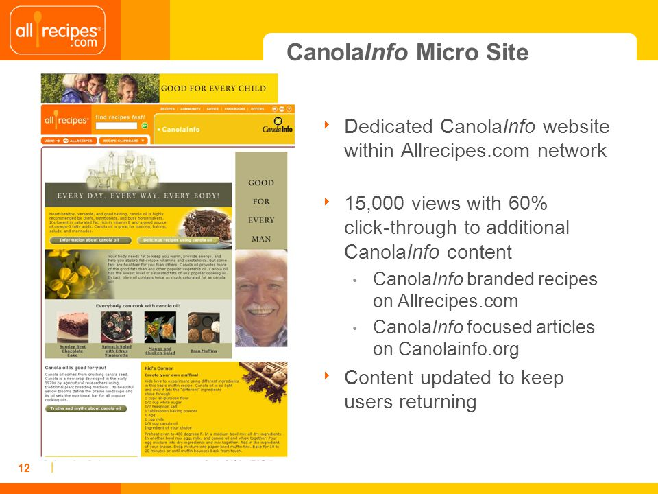 | 12 Dedicated CanolaInfo website within Allrecipes.com network 15,000 views with 60% click-through to additional CanolaInfo content CanolaInfo branded recipes on Allrecipes.com CanolaInfo focused articles on Canolainfo.org Content updated to keep users returning CanolaInfo Micro Site