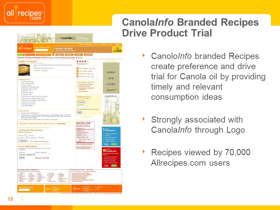 | 13 CanolaInfo Branded Recipes Drive Product Trial CanoloInfo branded Recipes create preference and drive trial for Canola oil by providing timely and relevant consumption ideas Strongly associated with CanolaInfo through Logo Recipes viewed by 70,000 Allrecipes.com users