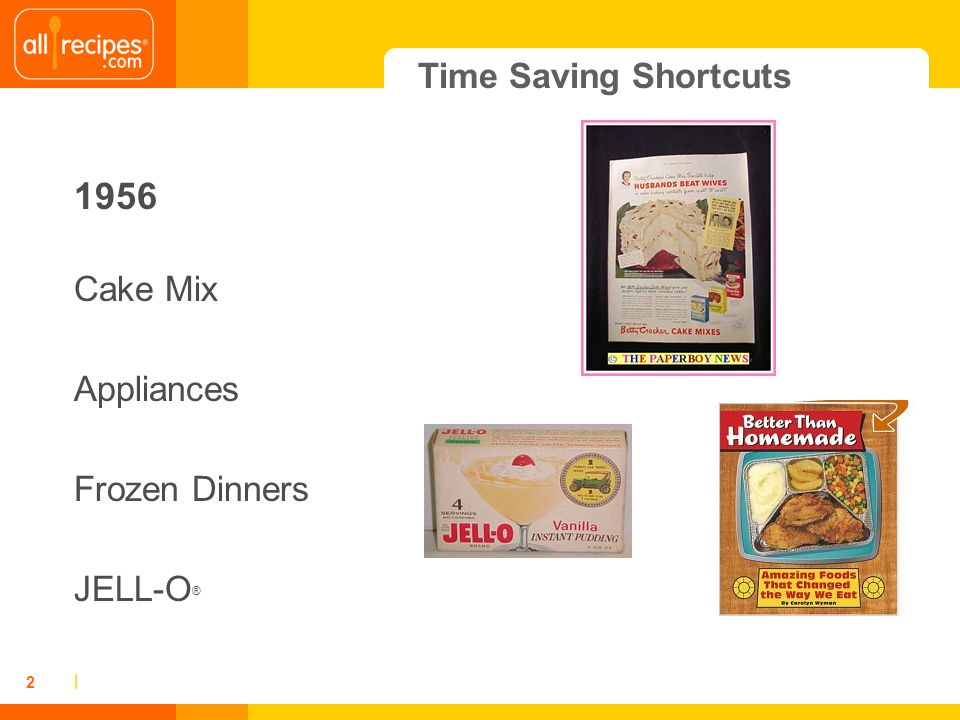 | 2 Time Saving Shortcuts 1956 Cake Mix Appliances Frozen Dinners JELL-O ®