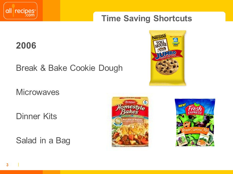 | 3 Time Saving Shortcuts 2006 Break & Bake Cookie Dough Microwaves Dinner Kits Salad in a Bag