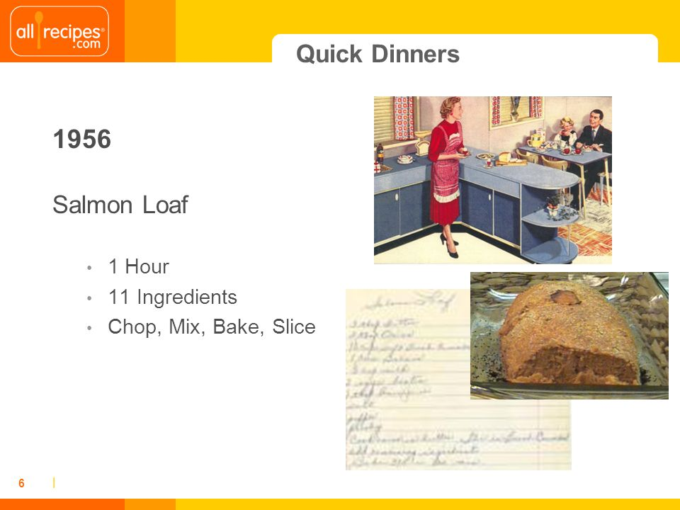 | 6 Quick Dinners 1956 Salmon Loaf 1 Hour 11 Ingredients Chop, Mix, Bake, Slice