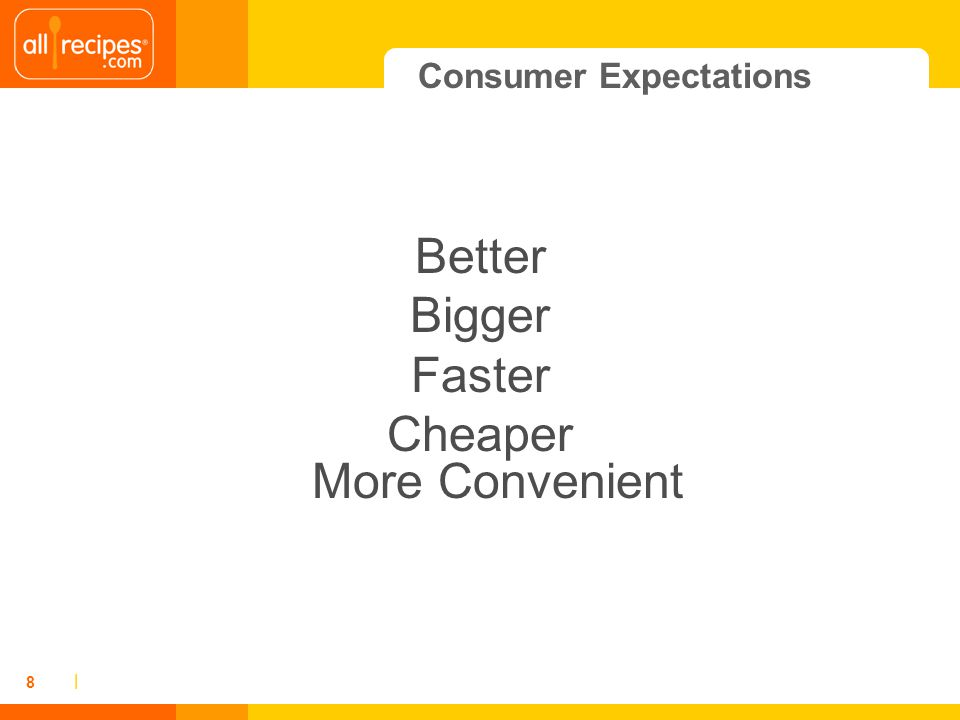 | 8 Consumer Expectations Better Bigger Faster Cheaper More Convenient
