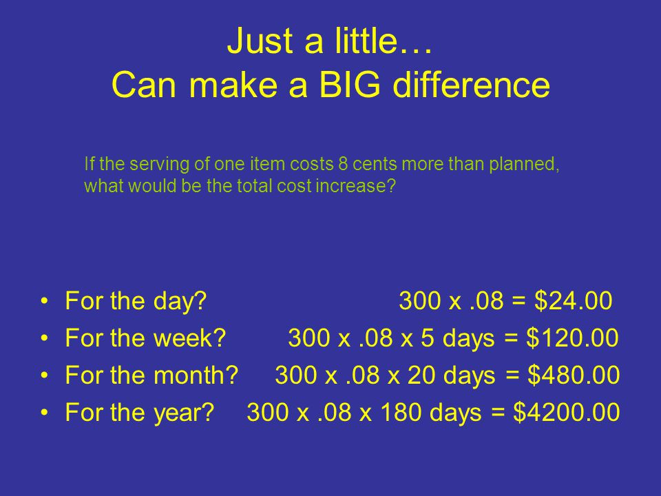 Just a little… Can make a BIG difference For the day? 300 x.08 = $24.00 For the week? 300 x.08 x 5 days = $120.00 For the month? 300 x.08 x 20 days =