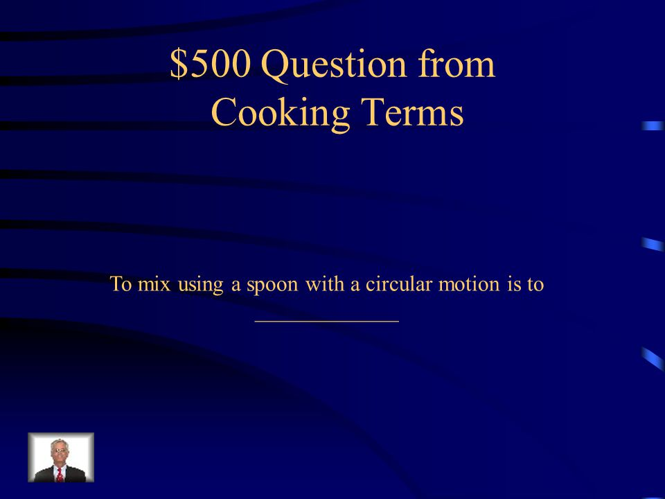 $400 Answer from Cooking Terms Food is cut into small, randomly sized pieces