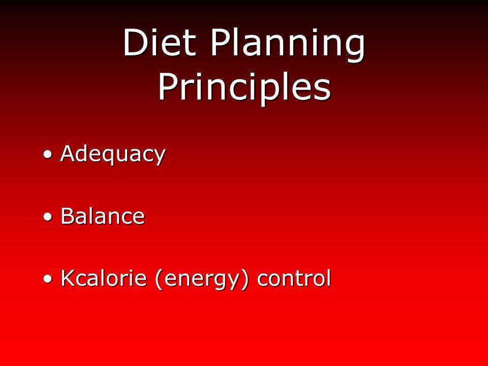 Diet Planning Principles AdequacyAdequacy BalanceBalance Kcalorie (energy) controlKcalorie (energy) control