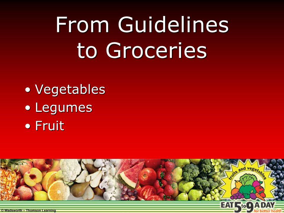 From Guidelines to Groceries VegetablesVegetables LegumesLegumes FruitFruit