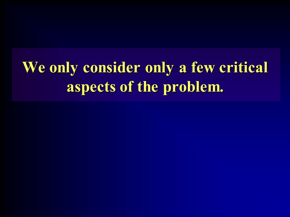 We only consider only a few critical aspects of the problem.