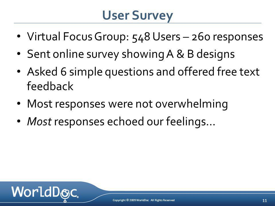 Copyright © 2009 WorldDoc All Rights Reserved 11 User Survey Virtual Focus Group: 548 Users – 260 responses Sent online survey showing A & B designs A
