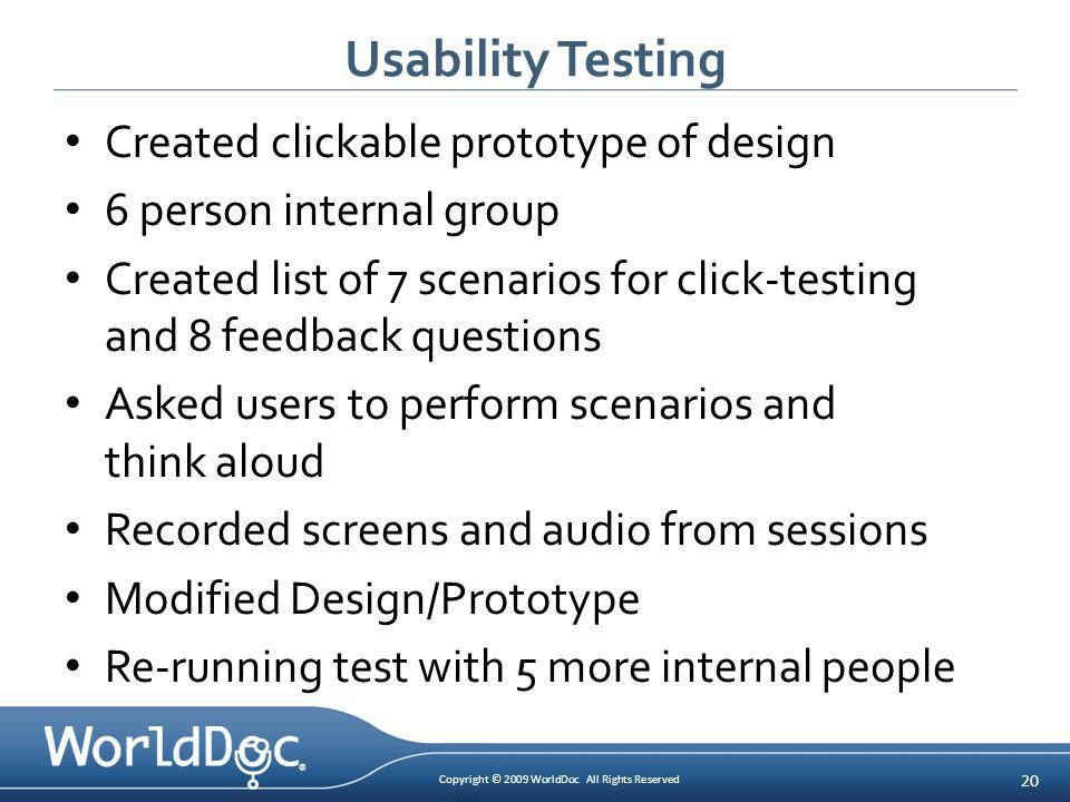Copyright © 2009 WorldDoc All Rights Reserved 20 Usability Testing Created clickable prototype of design 6 person internal group Created list of 7 sce