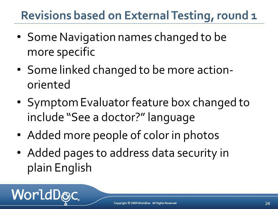 Copyright © 2009 WorldDoc All Rights Reserved 24 Revisions based on External Testing, round 1 Some Navigation names changed to be more specific Some l