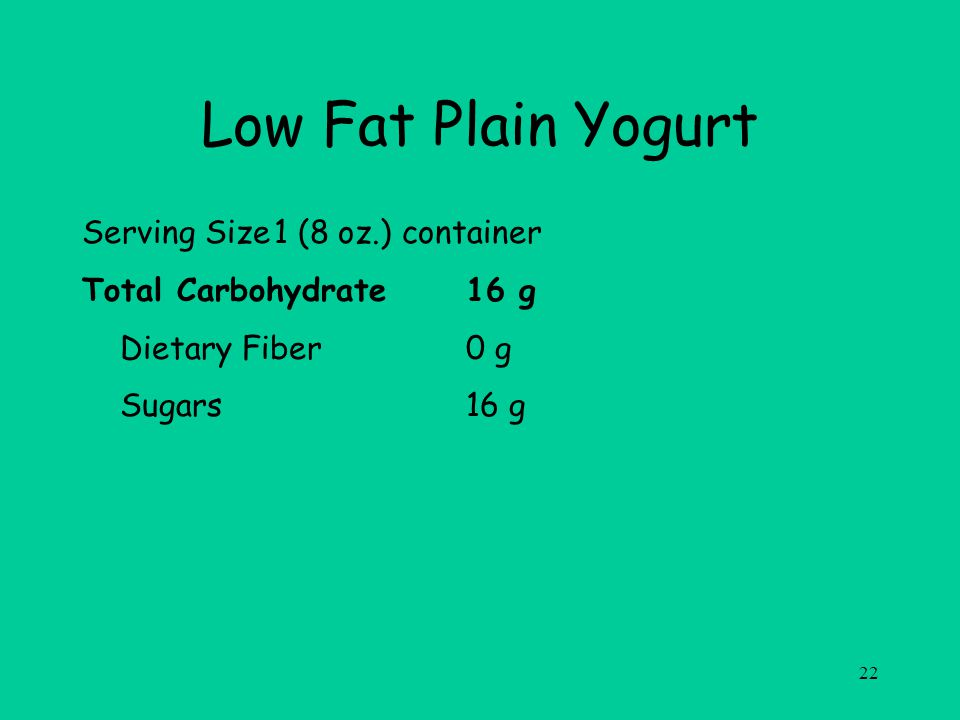 22 Low Fat Plain Yogurt Serving Size1 (8 oz.) container Total Carbohydrate16 g Dietary Fiber0 g Sugars16 g