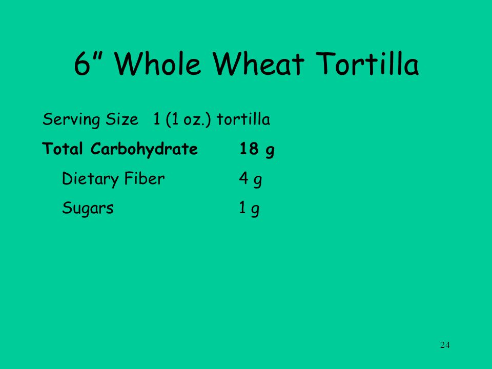 24 6 Whole Wheat Tortilla Serving Size 1 (1 oz.) tortilla Total Carbohydrate18 g Dietary Fiber4 g Sugars1 g