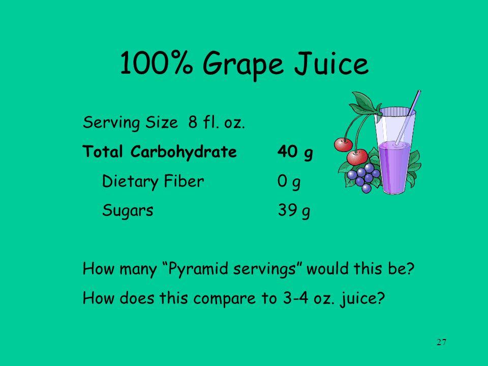 27 100% Grape Juice Serving Size 8 fl. oz.