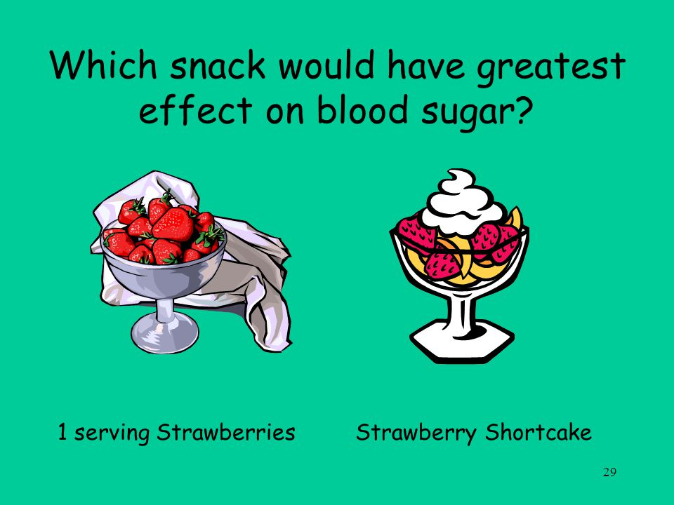 29 Which snack would have greatest effect on blood sugar.