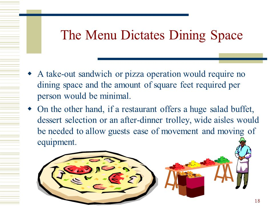 18 The Menu Dictates Dining Space A take-out sandwich or pizza operation would require no dining space and the amount of square feet required per pers