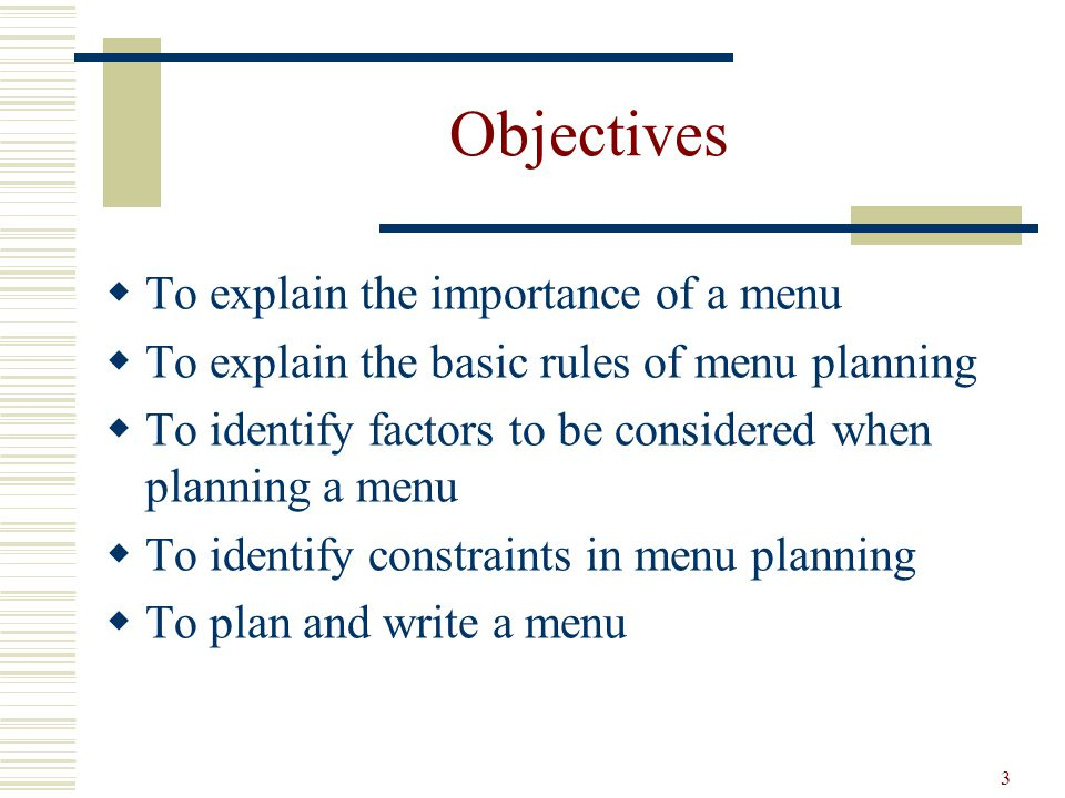 54 Menu Planning Strategies Rationalization its objective is simplification for the sake of operational efficiency i.e., cross-utilization menu items use the same raw ingredients -Menu when carefully plan can be a streamlining of the purchasing, receiving, storing, issuing, production, and serving control points.