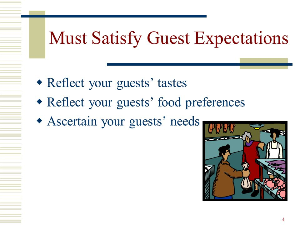 5 Must attain Marketing Objectives Locations Times Prices Quality Specific food items