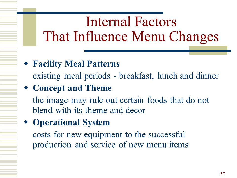 57 Internal Factors That Influence Menu Changes Facility Meal Patterns existing meal periods - breakfast, lunch and dinner Concept and Theme the image