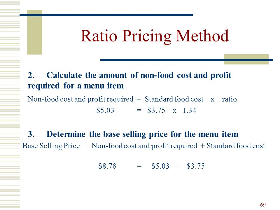 69 Ratio Pricing Method 2.Calculate the amount of non-food cost and profit required for a menu item Non-food cost and profit required = Standard food