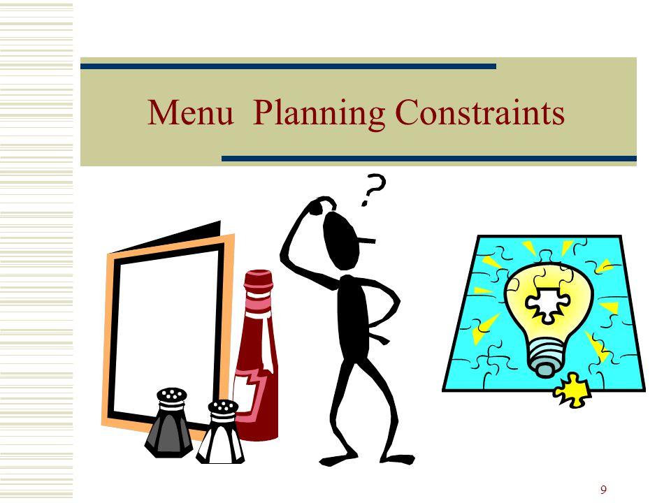 9 Menu Planning Constraints