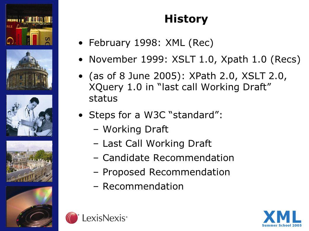 History February 1998: XML (Rec) November 1999: XSLT 1.0, Xpath 1.0 (Recs) (as of 8 June 2005): XPath 2.0, XSLT 2.0, XQuery 1.0 in last call Working D