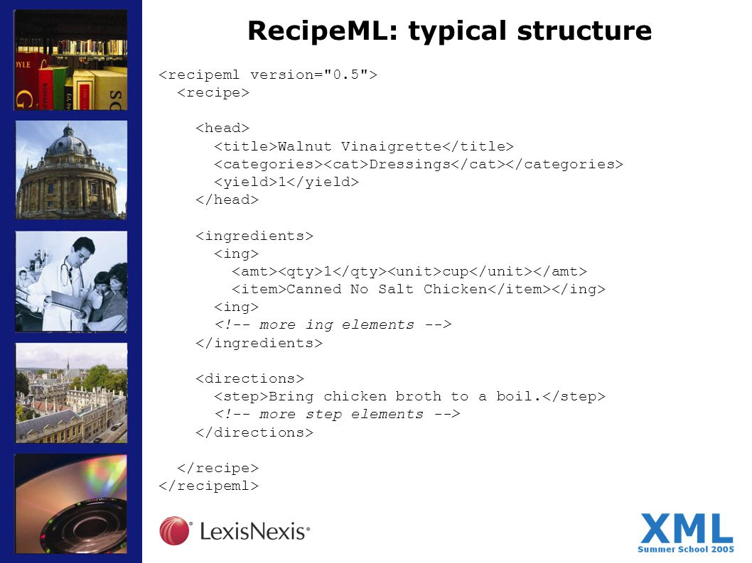 RecipeML: typical structure Walnut Vinaigrette Dressings 1 1 cup Canned No Salt Chicken Bring chicken broth to a boil.