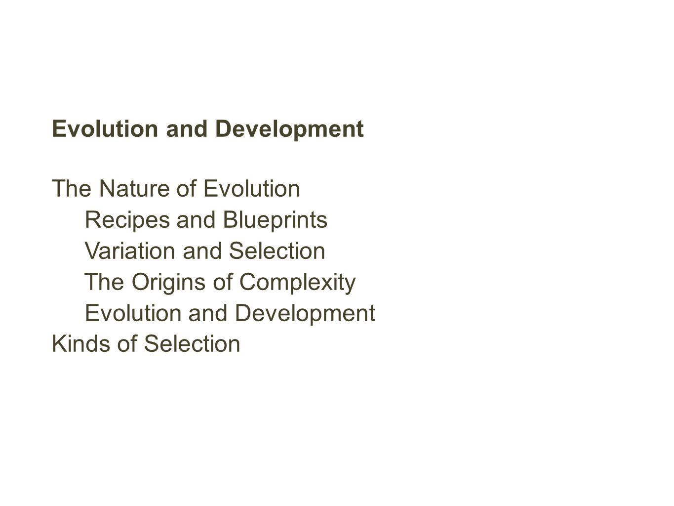 Evolution and Development The Nature of Evolution Recipes and Blueprints Variation and Selection The Origins of Complexity Evolution and Development Kinds of Selection
