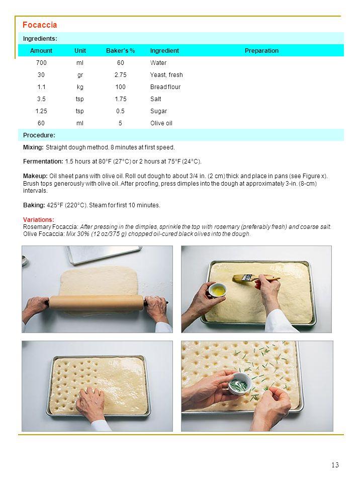 13 Focaccia Ingredients: AmountUnitBaker's %IngredientPreparation 700ml60Water 30gr2.75Yeast, fresh 1.1kg100Bread flour 3.5tsp1.75Salt 1.25tsp0.5Sugar