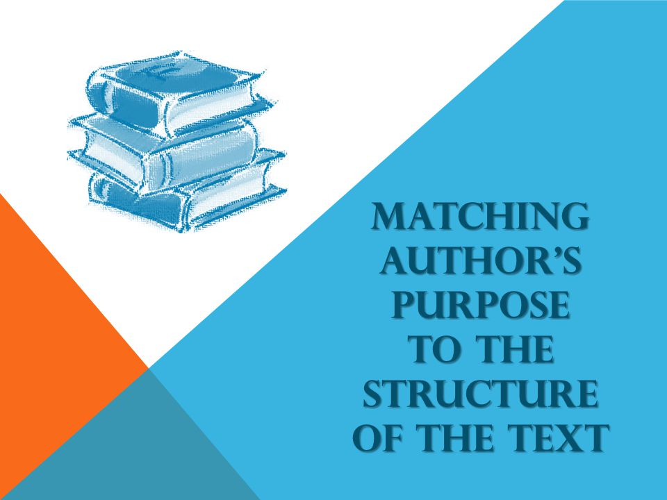 MATCHING AUTHORS PURPOSE TO THE STRUCTURE OF THE TEXT