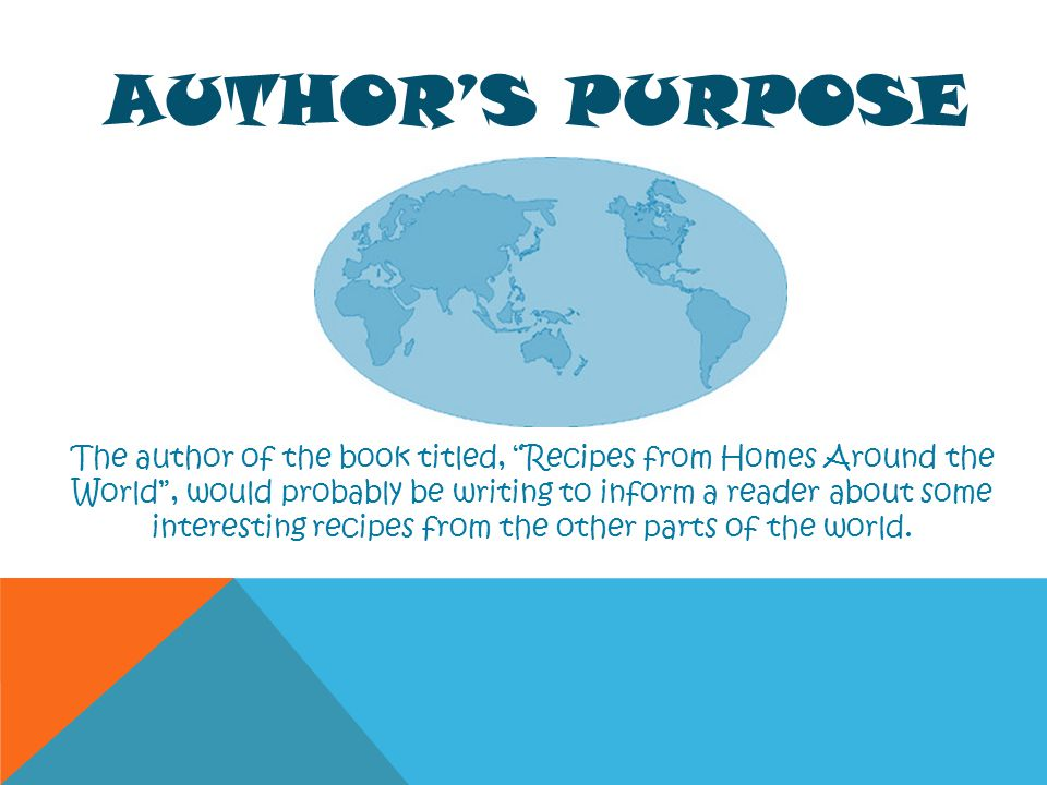 AUTHORS PURPOSE The author of the book titled, Recipes from Homes Around the World, would probably be writing to inform a reader about some interestin
