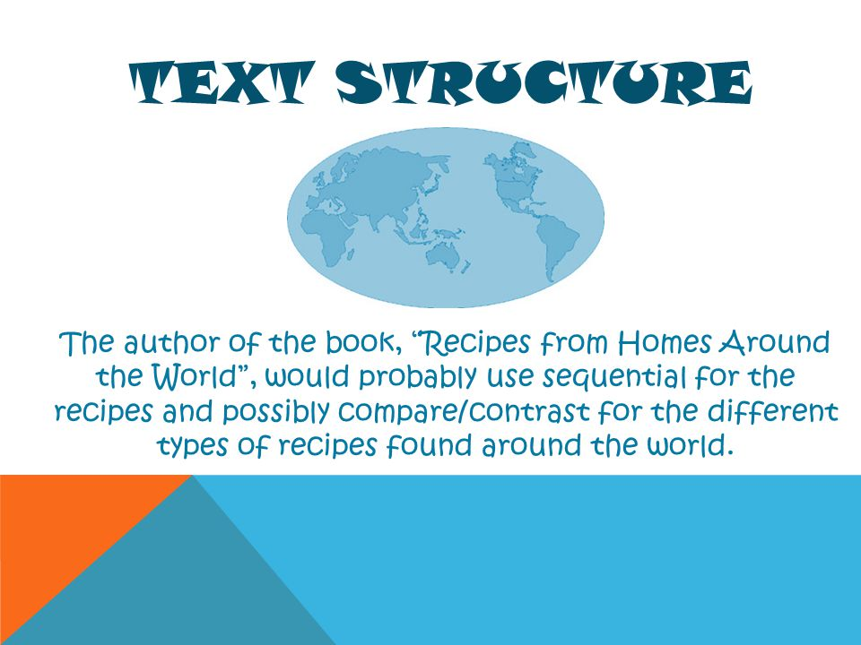 TEXT STRUCTURE The author of the book, Recipes from Homes Around the World, would probably use sequential for the recipes and possibly compare/contras