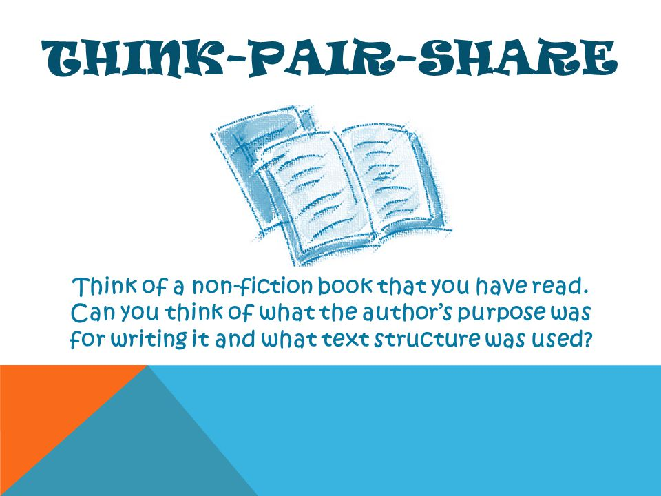 THINK-PAIR-SHARE Think of a non-fiction book that you have read. Can you think of what the authors purpose was for writing it and what text structure