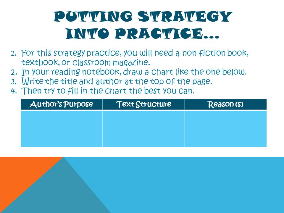 PUTTING STRATEGY INTO PRACTICE… 1.For this strategy practice, you will need a non-fiction book, textbook, or classroom magazine. 2.In your reading not