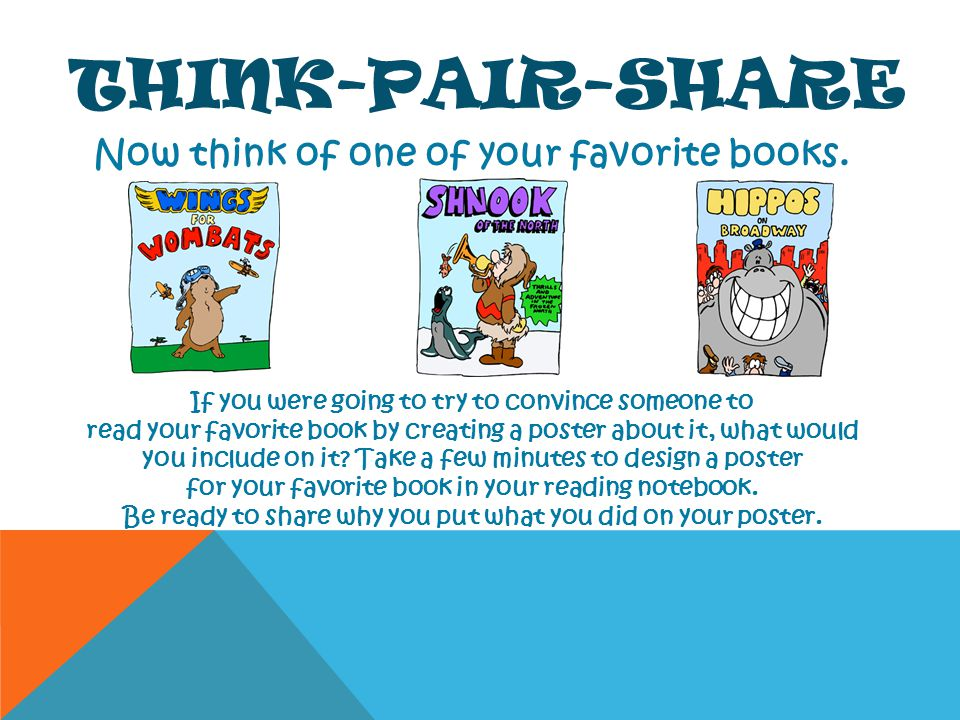 THINK-PAIR-SHARE Now think of one of your favorite books. If you were going to try to convince someone to read your favorite book by creating a poster