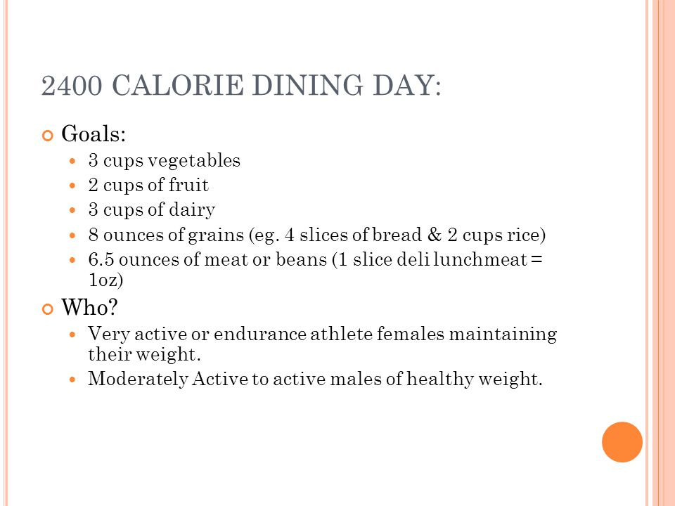 2400 CALORIE DINING DAY: Goals: 3 cups vegetables 2 cups of fruit 3 cups of dairy 8 ounces of grains (eg.