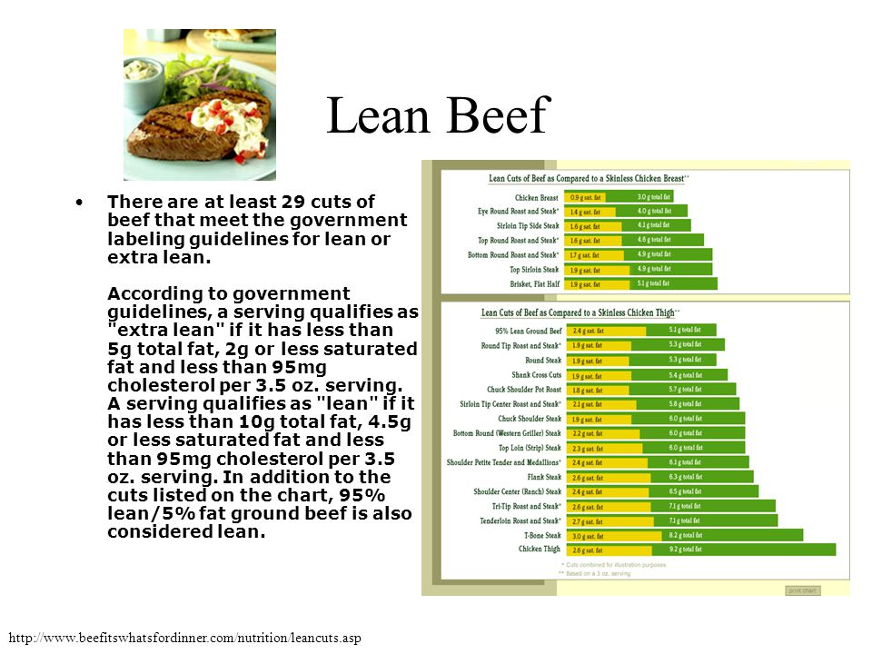 Lean Beef There are at least 29 cuts of beef that meet the government labeling guidelines for lean or extra lean. According to government guidelines,