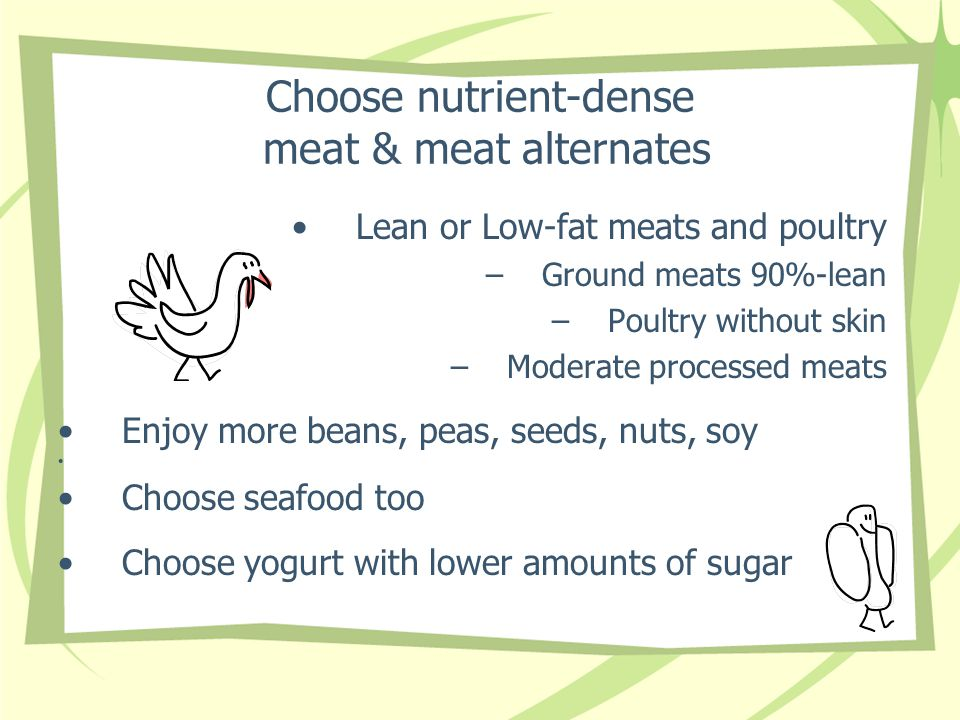 Choose nutrient-dense meat & meat alternates Lean or Low-fat meats and poultry –Ground meats 90%-lean –Poultry without skin –Moderate processed meats