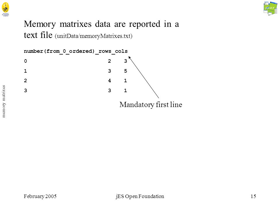 February 2005jES Open Foundation15 memory matrixes Memory matrixes data are reported in a text file (unitData/memoryMatrixes.txt) number(from_0_ordered)_rows_cols 02 3 13 5 24 1 33 1 Mandatory first line