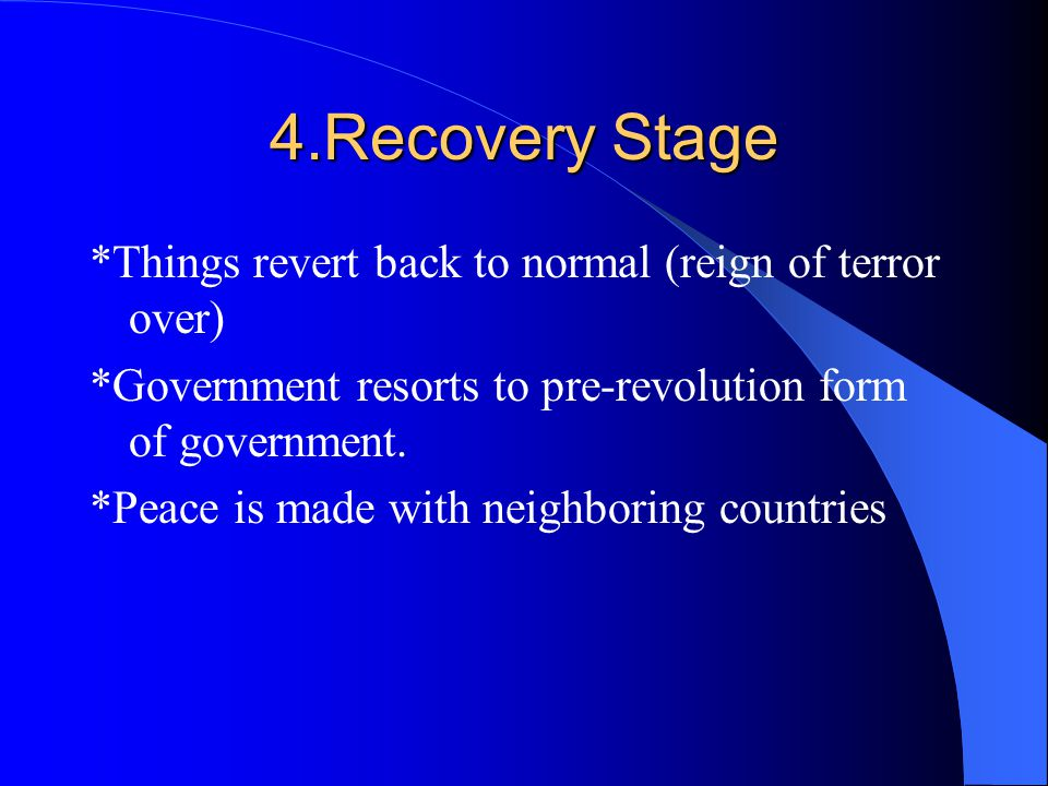 3.Crisis/Radical Stage *Reign of terror and executions *Use of secret police *Foreign threat to revolution *Class struggle *Economic crisis