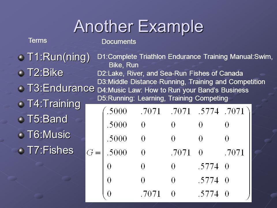 Another Example T1:Run(ning)T2:BikeT3:EnduranceT4:TrainingT5:BandT6:MusicT7:Fishes D1:Complete Triathlon Endurance Training Manual:Swim, Bike, Run D2: