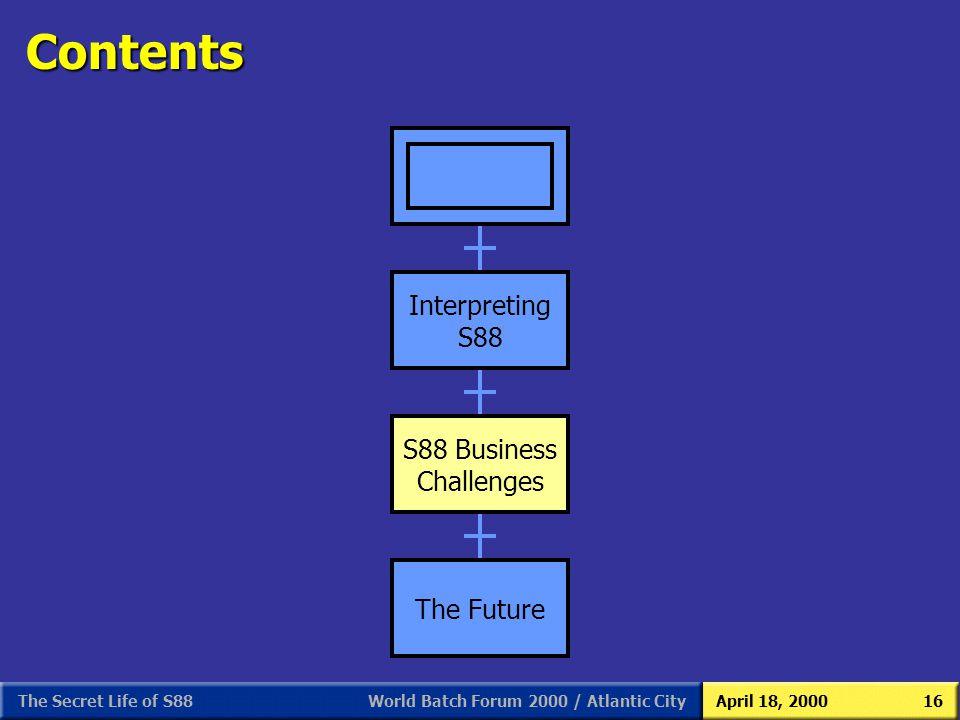 World Batch Forum 2000 / Atlantic CityApril 18, 2000The Secret Life of S8816 Contents Interpreting S88 S88 Business Challenges The Future Interpreting