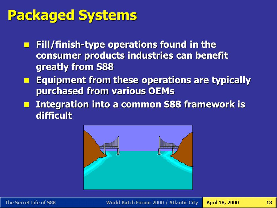 World Batch Forum 2000 / Atlantic CityApril 18, 2000The Secret Life of S8818 Packaged Systems n Fill/finish-type operations found in the consumer prod