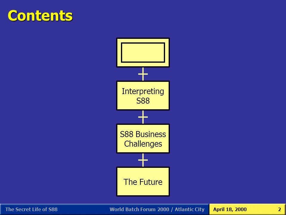World Batch Forum 2000 / Atlantic CityApril 18, 2000The Secret Life of S882 Contents Interpreting S88 S88 Business Challenges The Future