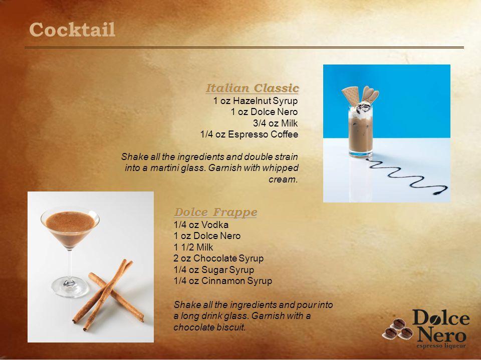 Dolce Frappe Dolce Frappe 1/4 oz Vodka 1 oz Dolce Nero 1 1/2 Milk 2 oz Chocolate Syrup 1/4 oz Sugar Syrup 1/4 oz Cinnamon Syrup Shake all the ingredie